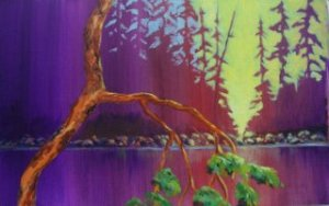 Arbutus at Sunset Acrylic on canvas pad